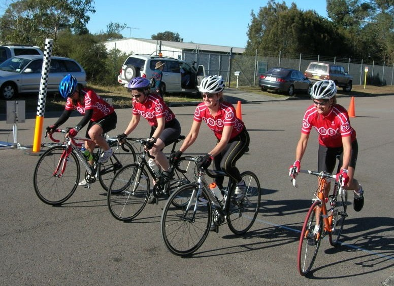The DHBC Women's Masters Team Time Trialists starting the 2010 NSW TTT at Calga.